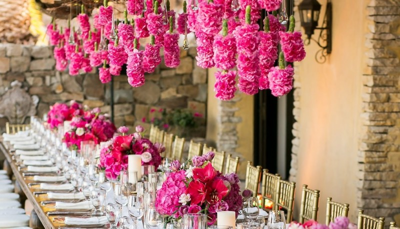 Hanging Flowers Pink Floral Designs Hot Pink Centerpieces Elena Damy Event Design Destination Weddings Mexico