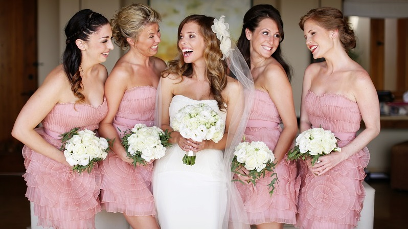 White Bridal Bouquets Pink Bridesmaids Dresses Beach Weddings Mexico Elena Damy