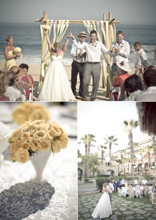 beach weddings yellow flowers mexico destination weddings elena damy