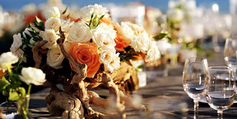 Orange and White Wedding Flowers, Manzanita Branches, Esperanza Resort in Cabo San Lucas