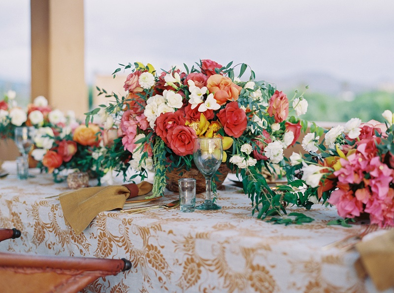 Elena Damy Roses And Bougainvillea Centerpiece Mexican Wedding