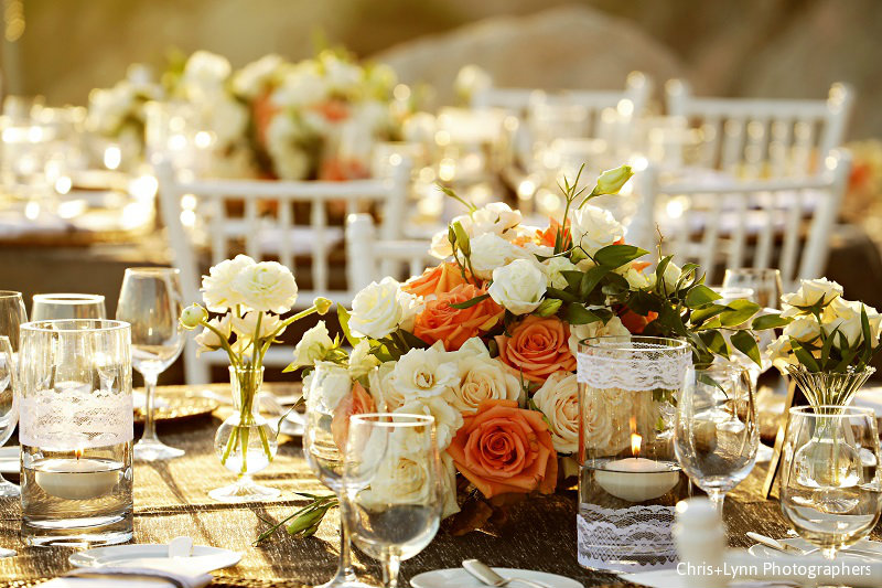 Elena Damy White And Orange Flowers For Wedding Centerpieces