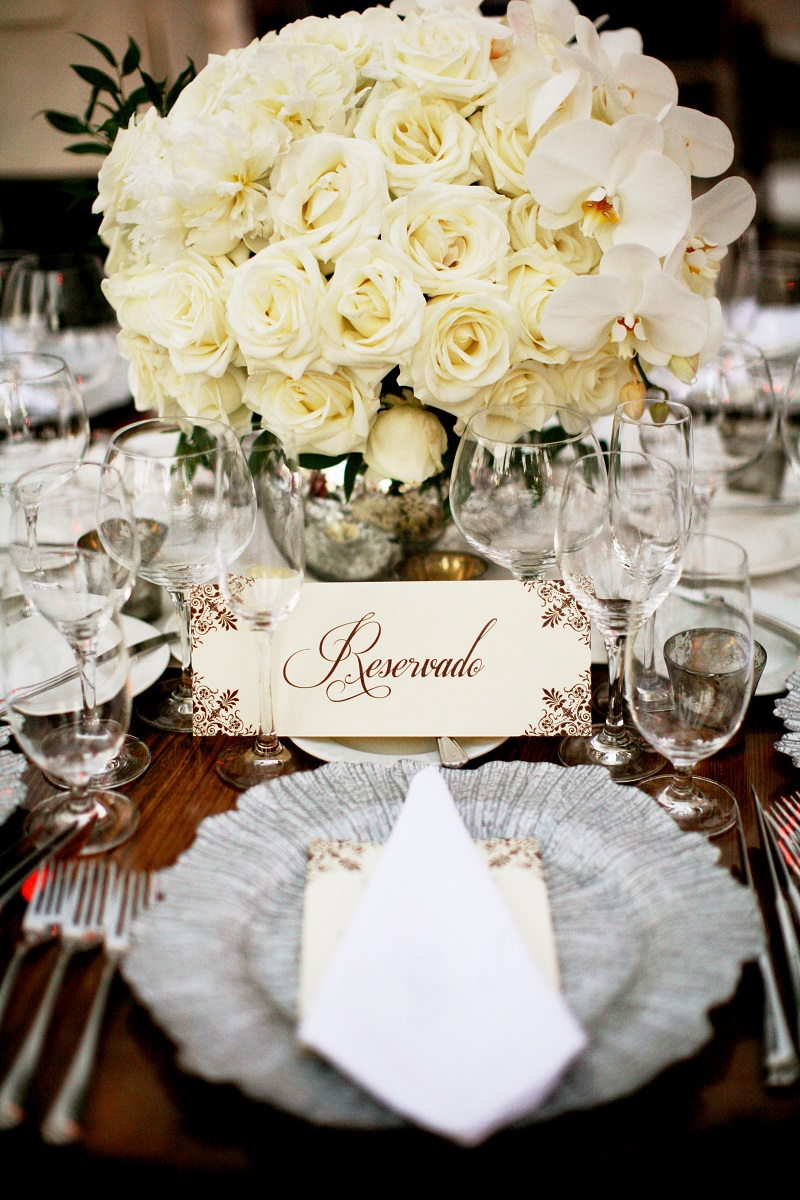 white rose centerpieces for weddings dark wood tables elena damy destination weddings mexico