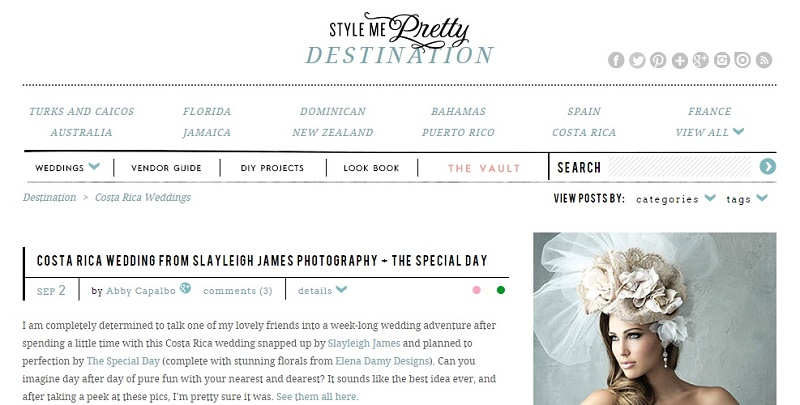 Costa Rican Weddings featured in Style Me Pretty Elena Damy Destination Wedding Design