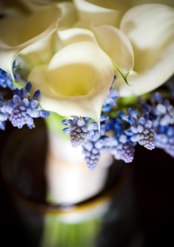 Muscari and mini calla lilies blue bridal bouquets elena damy floral design