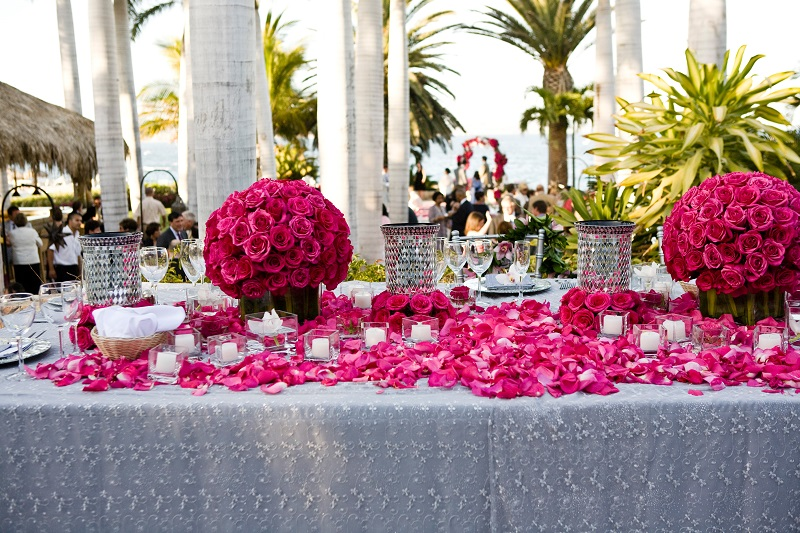 Long head tables for weddings hot pink beach weddings elena damy floral design
