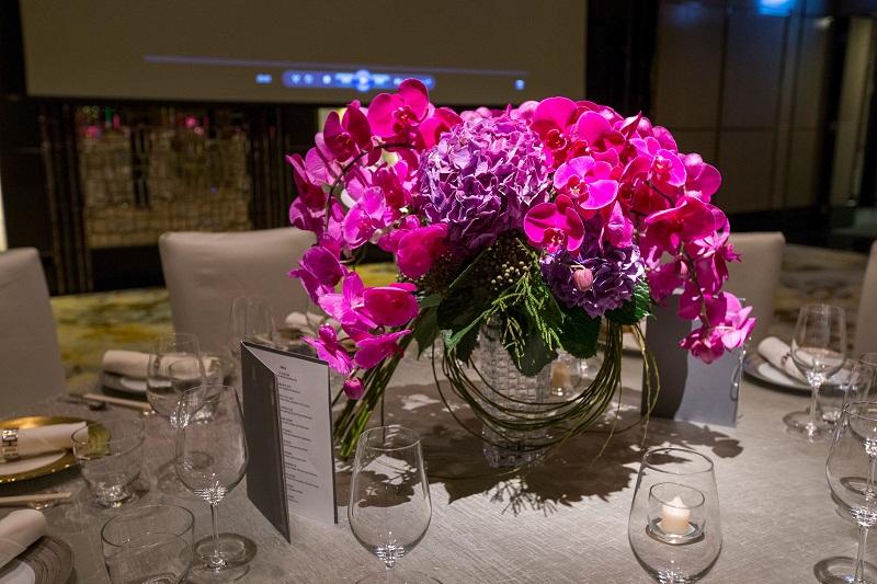 magenta orchid floral arrangements ritz carlton hong kong elena damy floral design