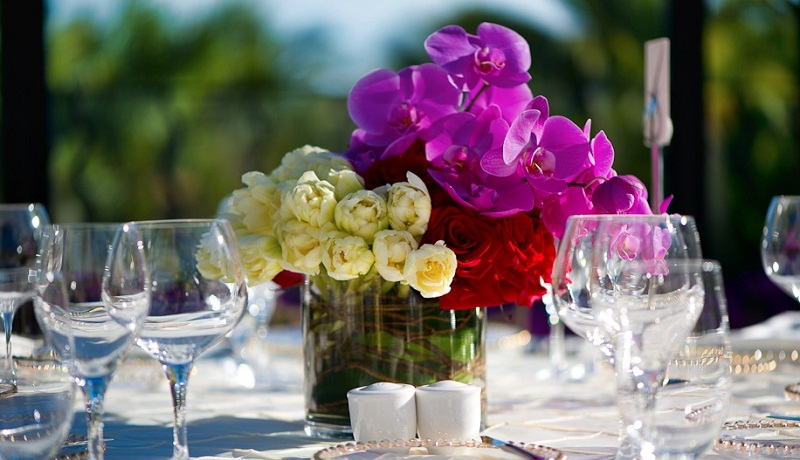 magenta orchids red roses white tulips wedding centerpieces elena damy event design