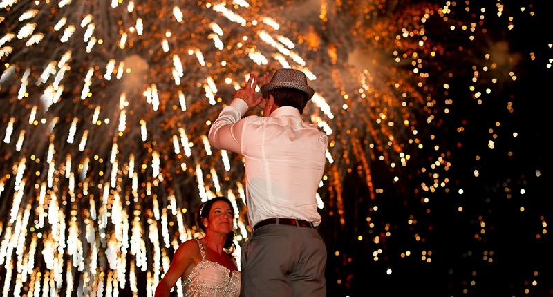 wedding fireworks destination weddings mexico esperanza resort
