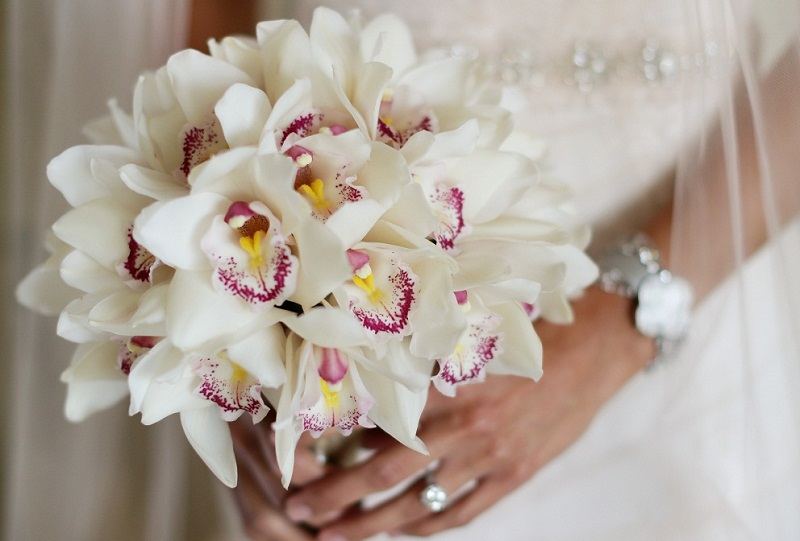 white cymbidium orchid bridal bouquet elena damy 800