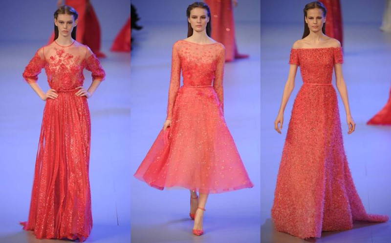 Coral evening gowns for weddings