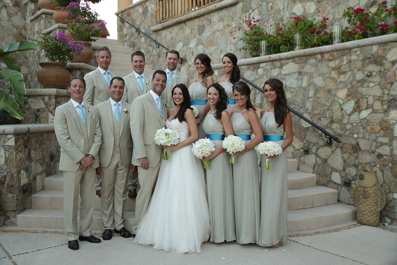 bridal party photos esperanza resort los cabos