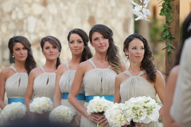 bridesmaids beach weddings mexico white bouquets elena damy floral design