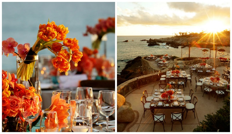 orange flowers for weddings sunset dinners los cabos resorts