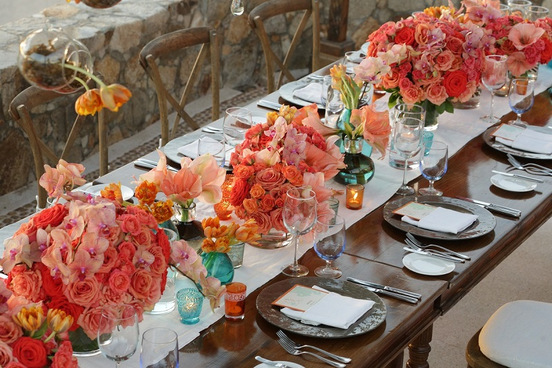 orange wedding centerpieces elena damy esperanza resort weddings mexico chris plus lynn 800