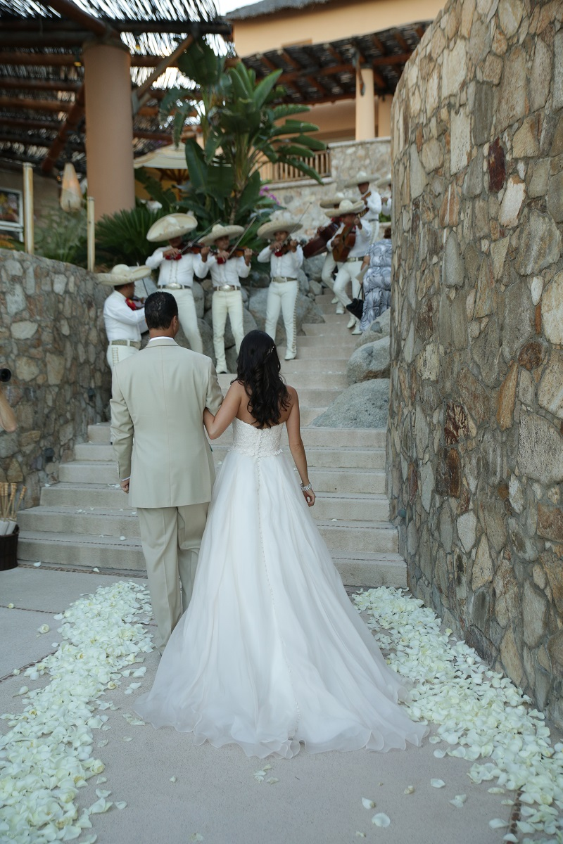 recessional white petals beach weddings los cabos mexico elena damy