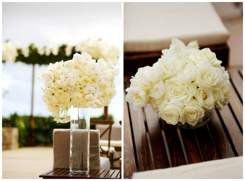 wedding ceremony flowers white roses mexico destination weddings elena damy