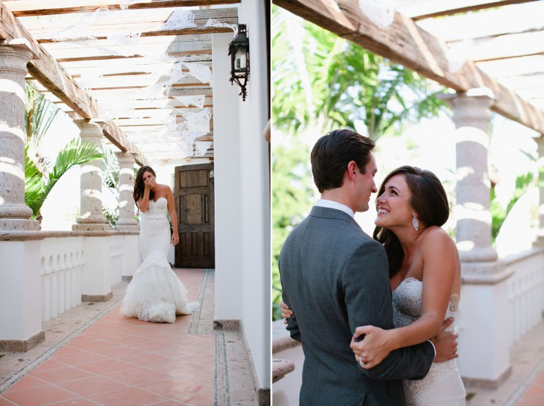 bride and groom first look cabo weddings elena damy floral and event design