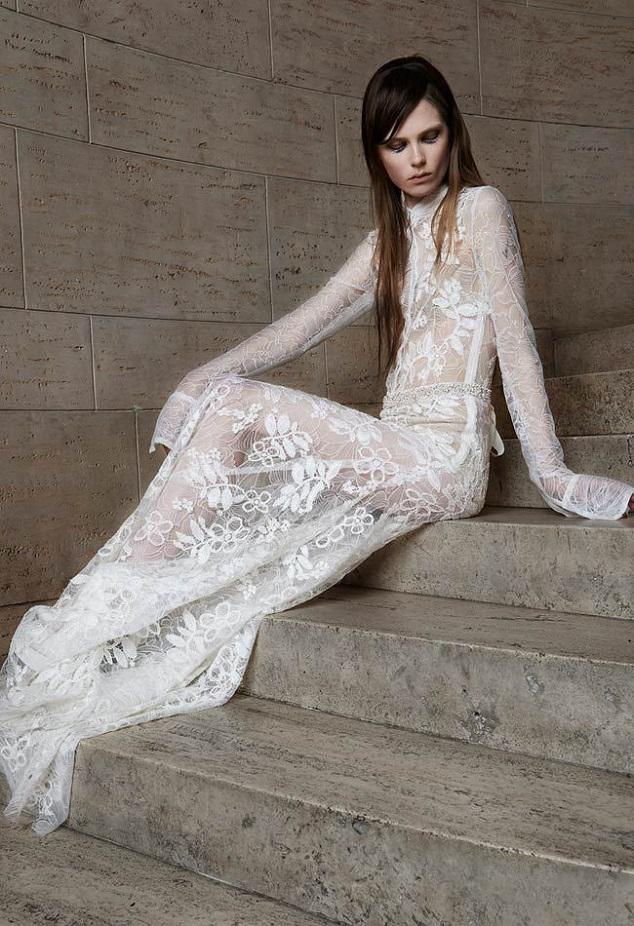 lace sheath wedding gown vera wang destination weddings