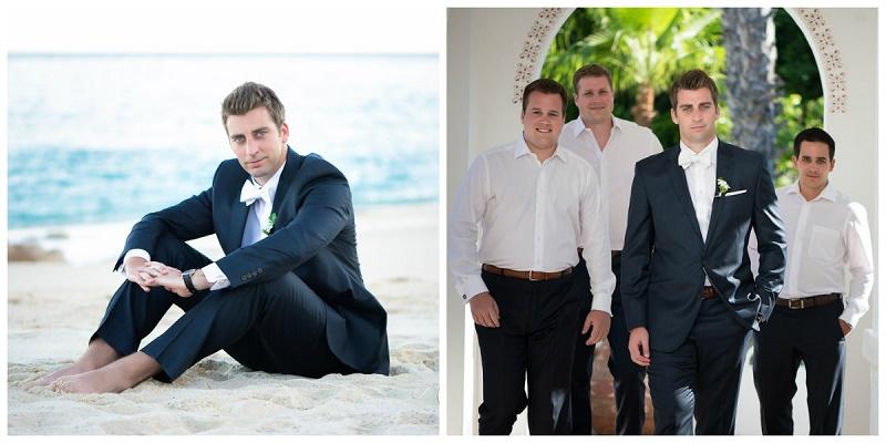 groom and groomsmen beach weddings dark suits