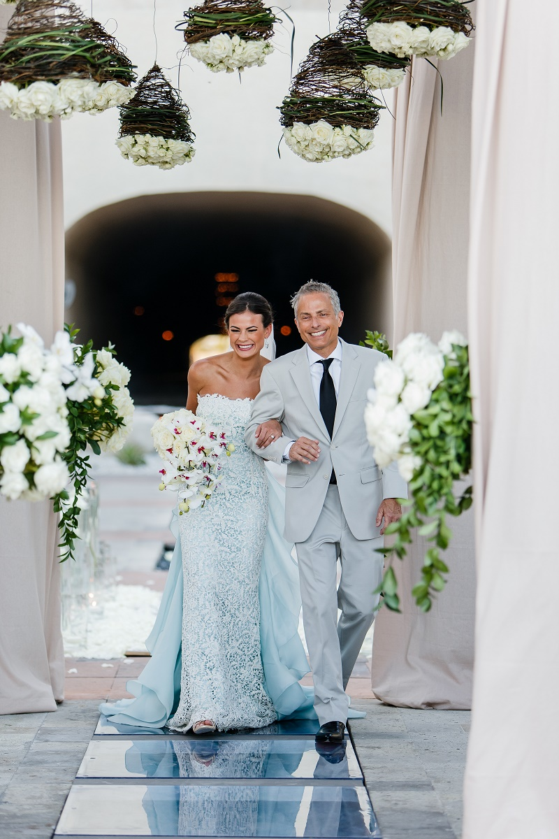bride and her father ceremony aisle elena damy floral design