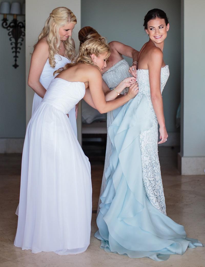 Elena Damy - bride dressing with bridesmaids blue wedding gown elena ...