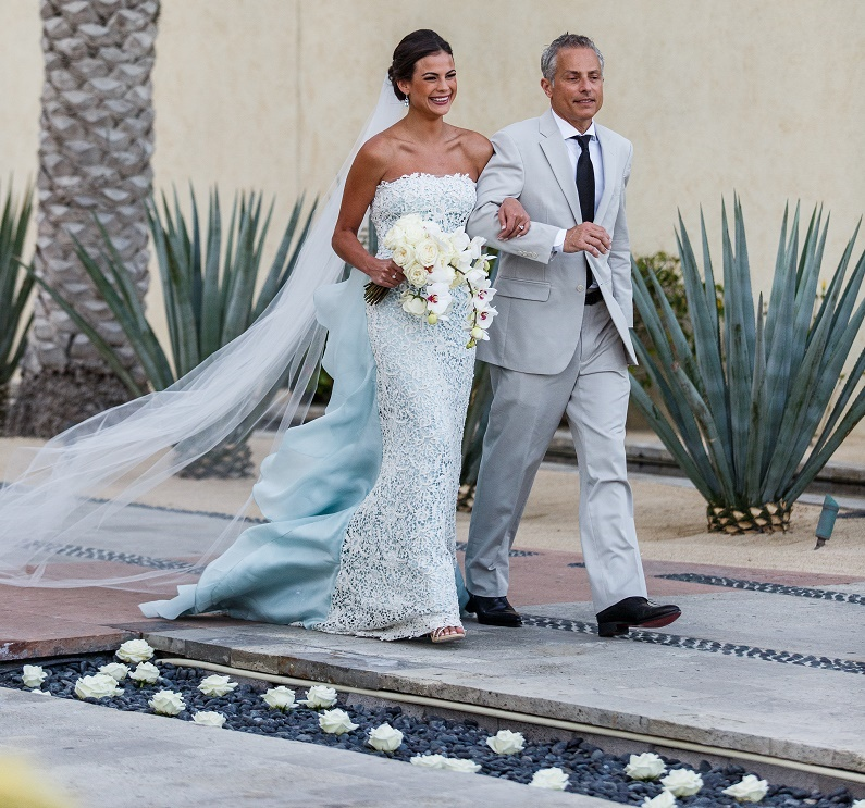 brides blue lace wedding gown bridal processional destination weddings mexico