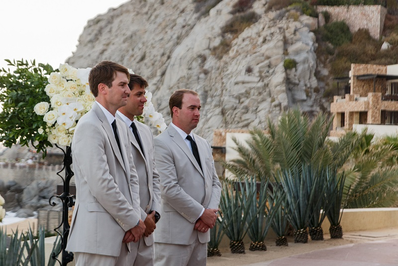 groom watching bridal procession capella pedregal mexico