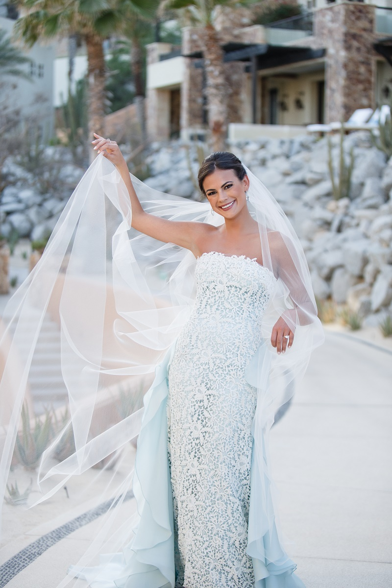 blue lace wedding gown bridal portraits elena damy