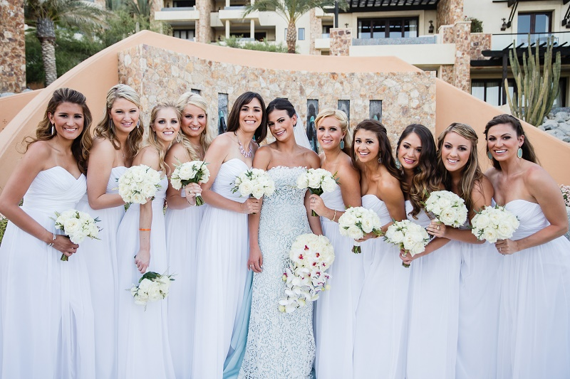 Bride With Her Bridesmaids Elena Damy Wedding Planners Los Cabos Mexico
