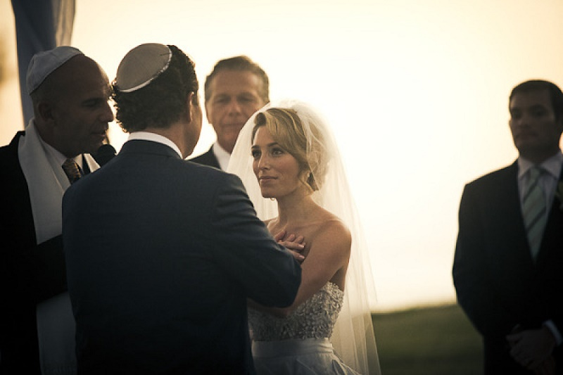 jewish wedding ceremony outside chuppah on beach mexico destination wedding elena damy