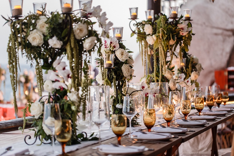 long dinner tables tall flower arrangements destination weddings mexico elena damy florist
