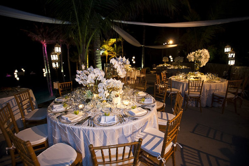 white orchid wedding centerpieces for outdoor beach wedding mexico elena damy
