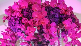 hot pink and purple floral centerpieces luxury weddings glamorous social events elena damy