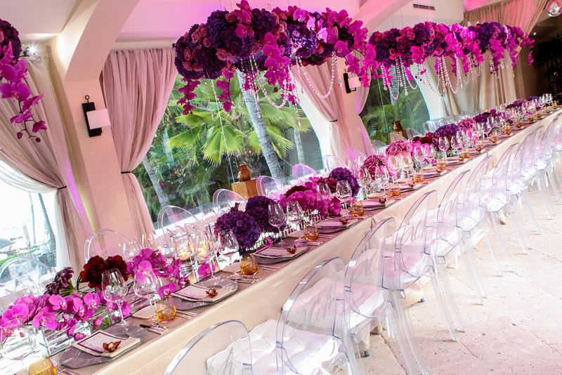 long feast tables with clear chairs with monograms birthday parties mexico elena damy floral design