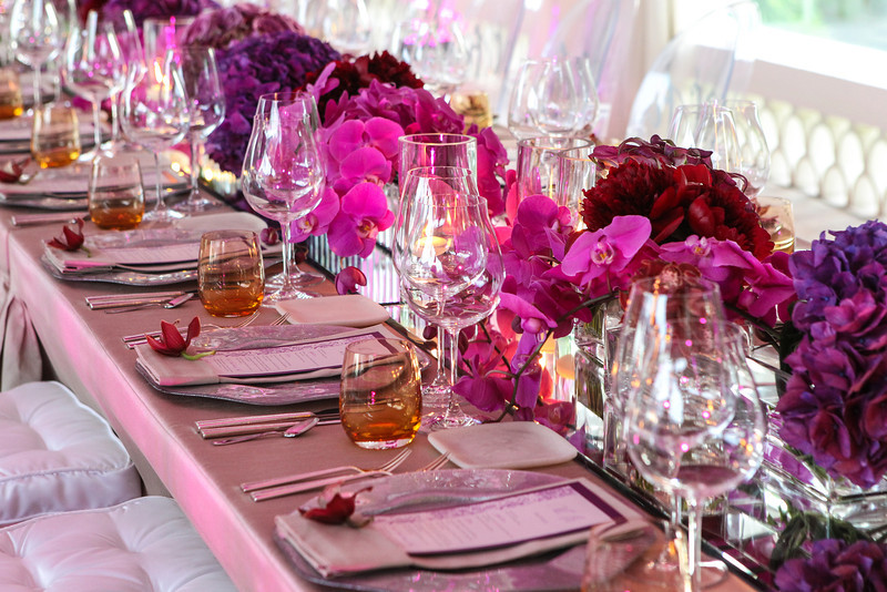 long floral centerpieces for beach events mexico purple orchids mirror tables elena damy