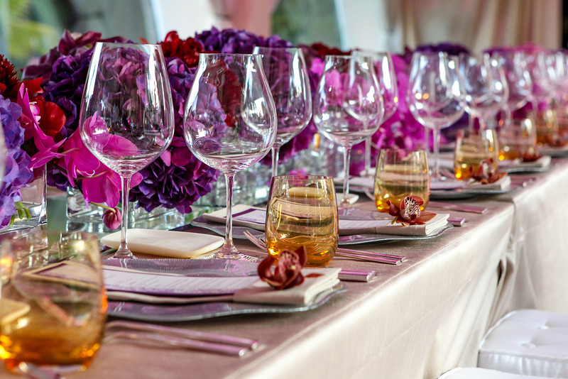 purple hydrangea low floral centerpieces orchid place settings los cabos florists elena damy