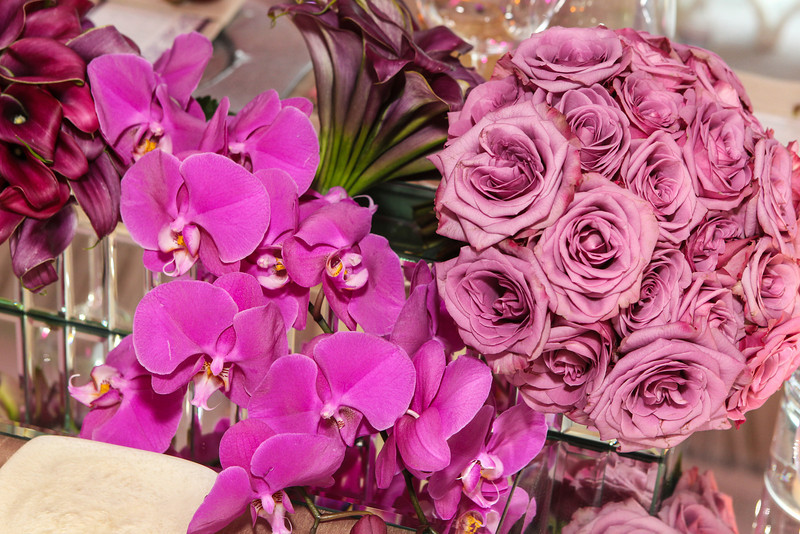 purple tropical flower wedding centerpieces elena damy floral design