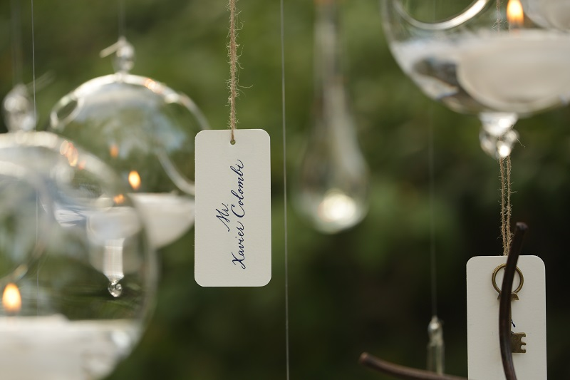 Floating Orb Candles Hanging Place Cards Mexico Weddings Los Cabos Elena Damy
