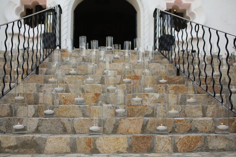Glass Hurricanes Up the Stairs Chapel Weddings Mexico One&Only Palmilla Elena Damy