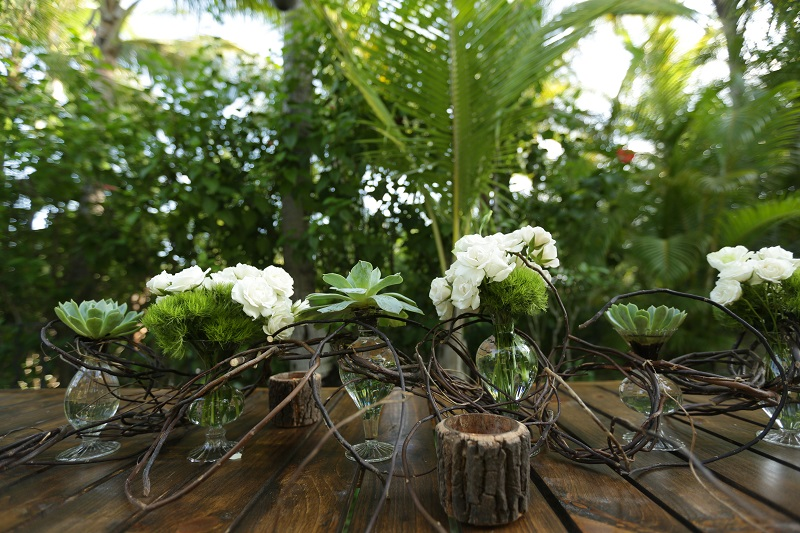 Green Trick and White Orchid Floral Arrangements for Outdoor Cocktail Receptions One&Only Palmilla Mexico Weddings Elena Damy 2