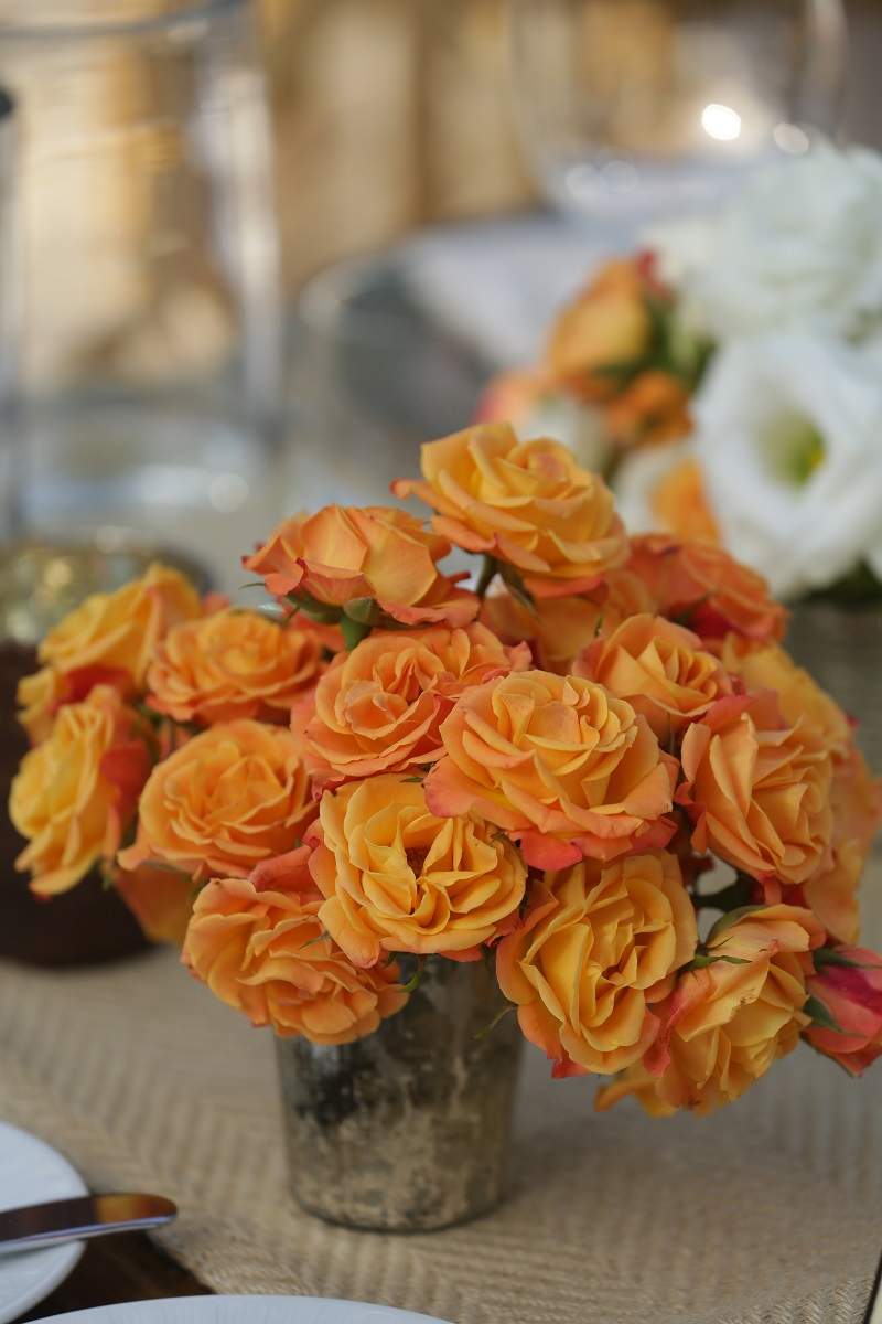 Orange Roses Rustic Metal Vases Satellite Floral Arrangements for Weddings Mexico Elena Damy Floral Design