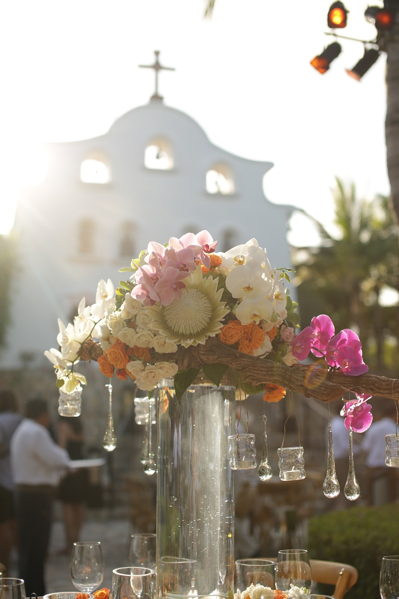 Tall Floral Centerpieces Outdoor Weddings Chapel Receptions One&Only Palmilla Mexico Elena Damy Floral Design