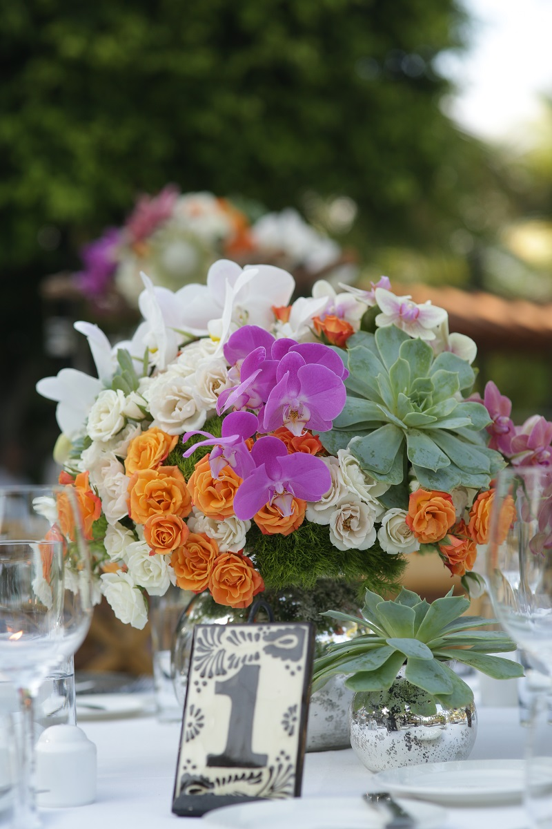 Tropical Floral Centerpieces for Mexico Weddings Elena Damy Event Design Los Cabos