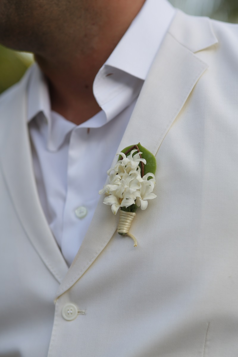 White Orchids Boutonnieres for Beach Weddings Mexico Elena Damy Floral Design