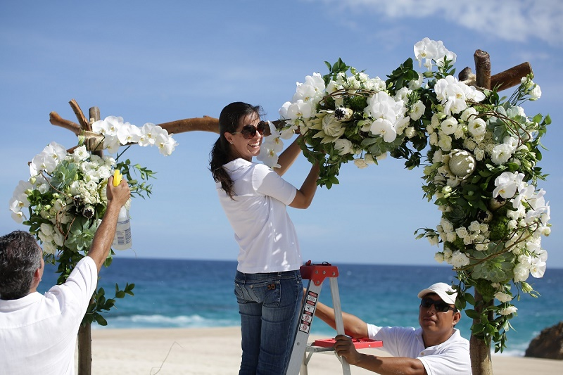 white orchid and protea wedding ceremony arch beach weddings cabo elena damy floral design 2