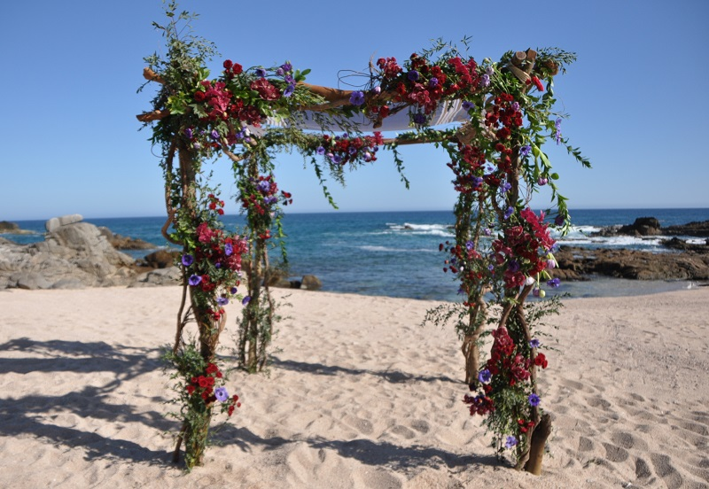 red and purple flowers beach weddings mexico elena damy floral design los cabos 10