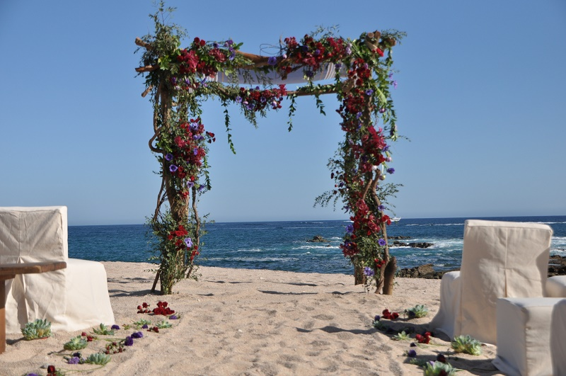 red and purple flowers beach weddings mexico elena damy floral design los cabos 19