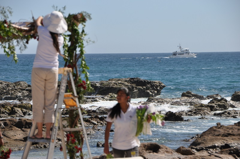 red and purple flowers beach weddings mexico elena damy floral design los cabos ceremony chuppah