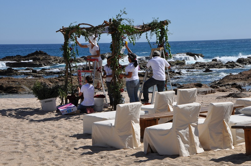 red and purple flowers beach weddings mexico elena damy floral design los cabos